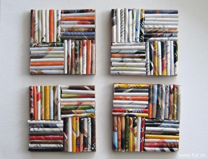 Magazine Coasters - Set of 4 - Upcycled Magazines