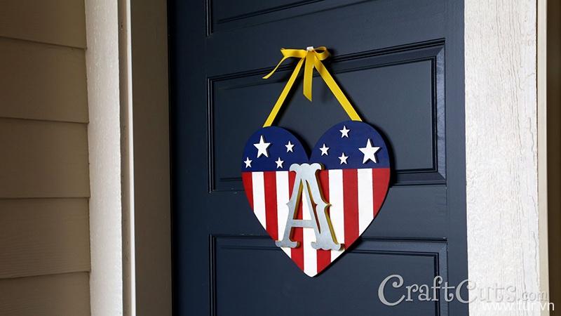 DIY Patriotic Monogram Door Hanger