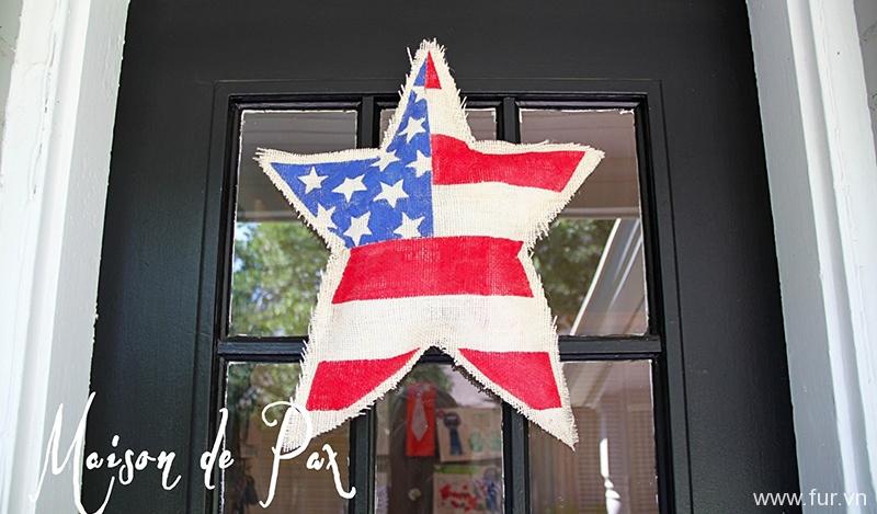 Painted Burlap Star