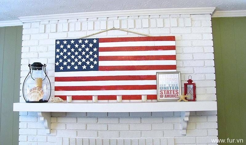 Patriotic Mantel and DIY Plywood Flag