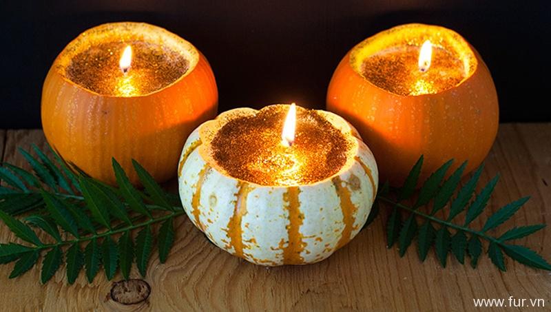 Glitter Candle Carved Pumpkins