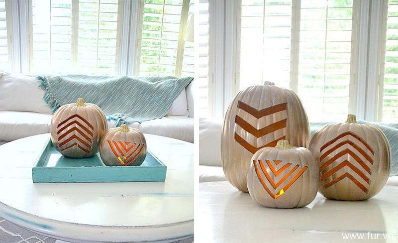 Gold Geometric Pumpkin
