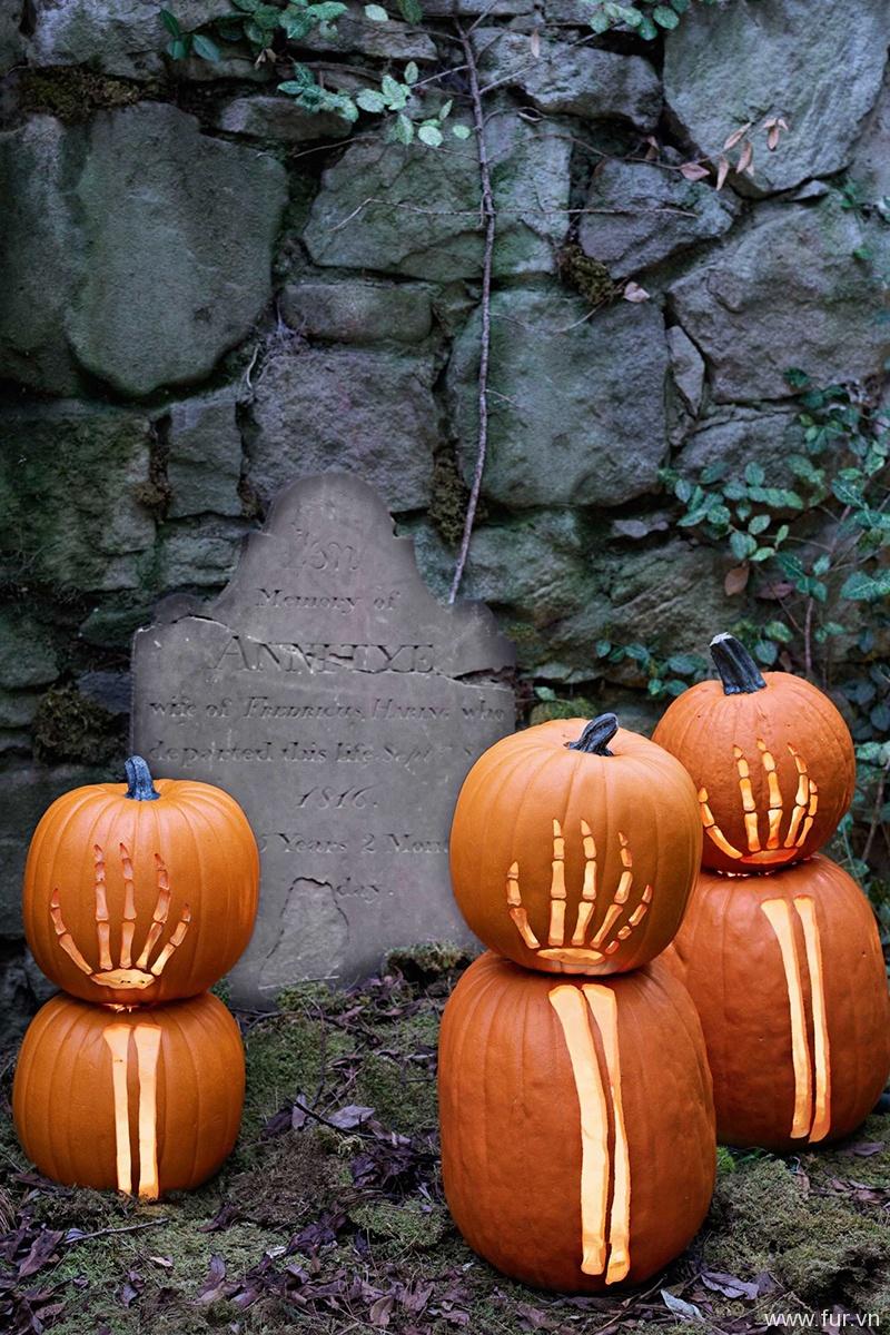Skeleton Carved Pumpkins