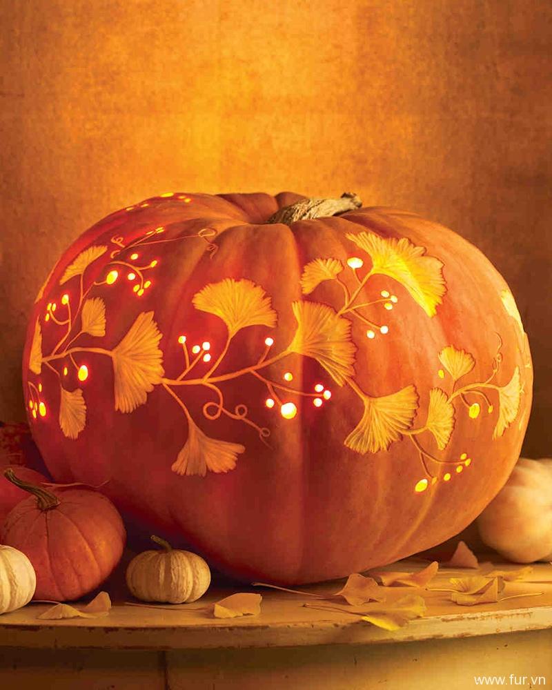 Vine and Leaf Carved Pumpkin
