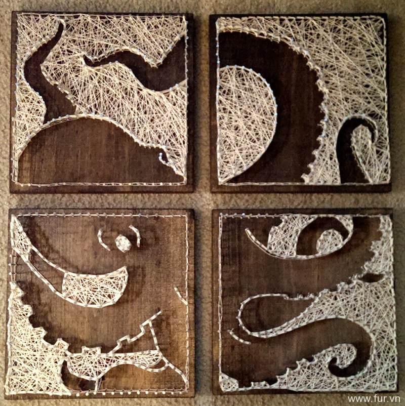 4 panel Octopus Nail and String Art
