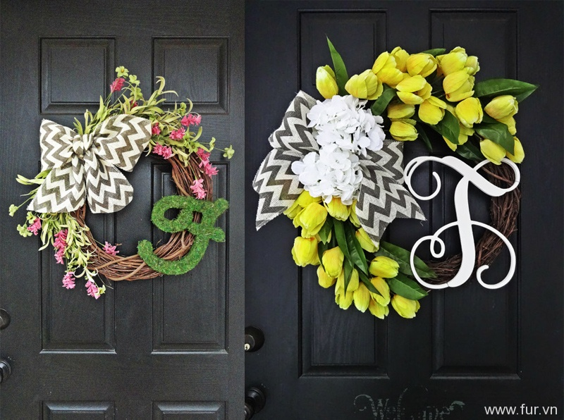 Spring and Summer Pink and Green Wildflower Wreath