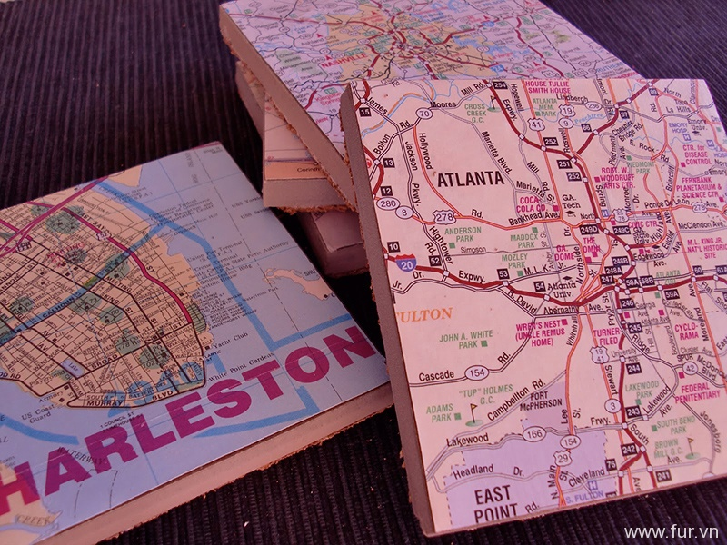 DIY Map Coasters