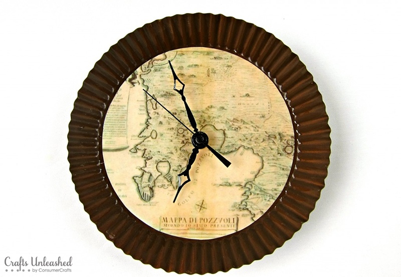 DIY Antique Map Wall Clock