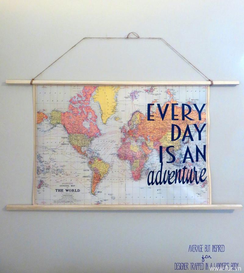 Easy DIY Travel Quote Map Art
