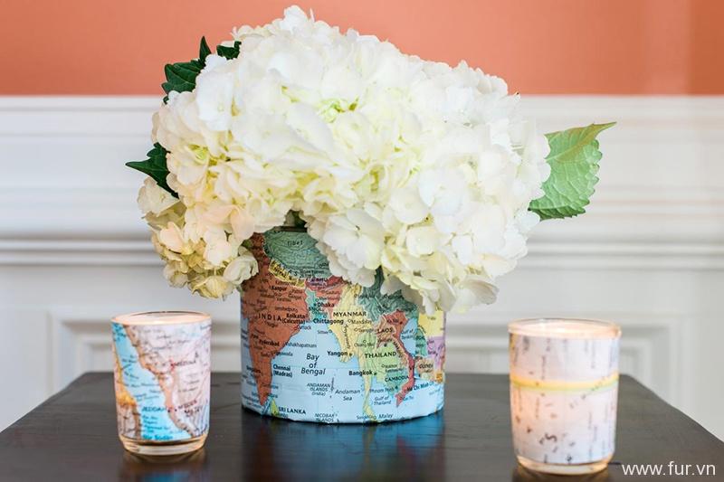 Map-Embellished Vase