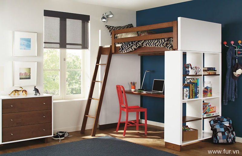 Moda Loft Beds with Desk and Bookcase Options