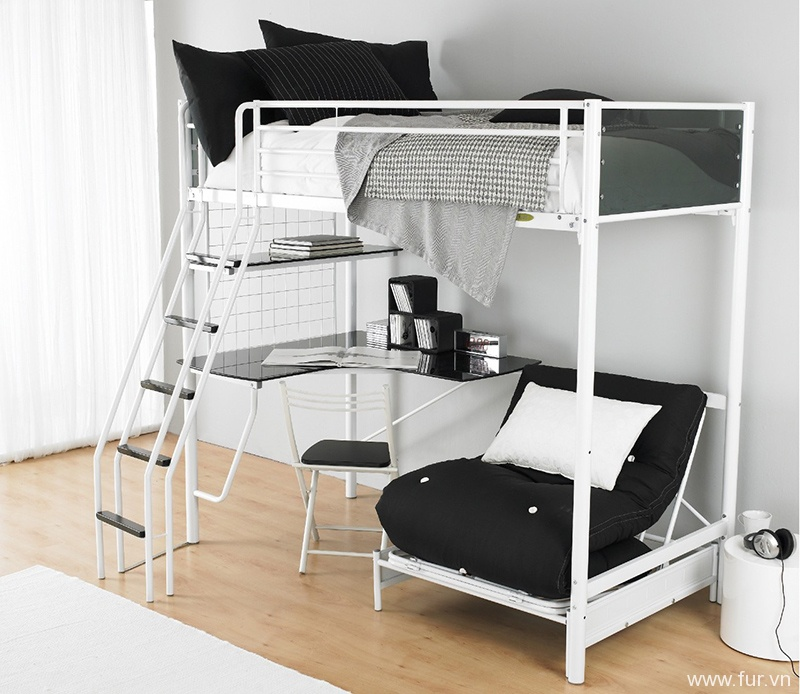 Bunker Bed, White Futon And Kid Loft Beds