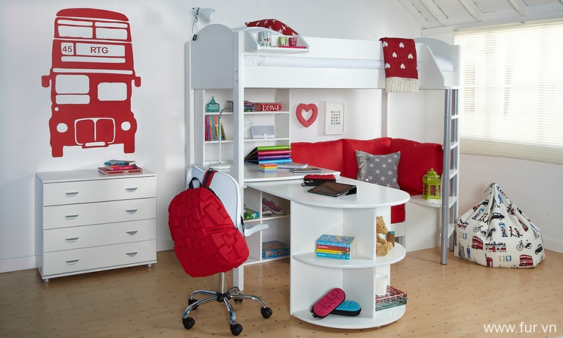 Stompa Casa 4 High Sleeper in White & Red