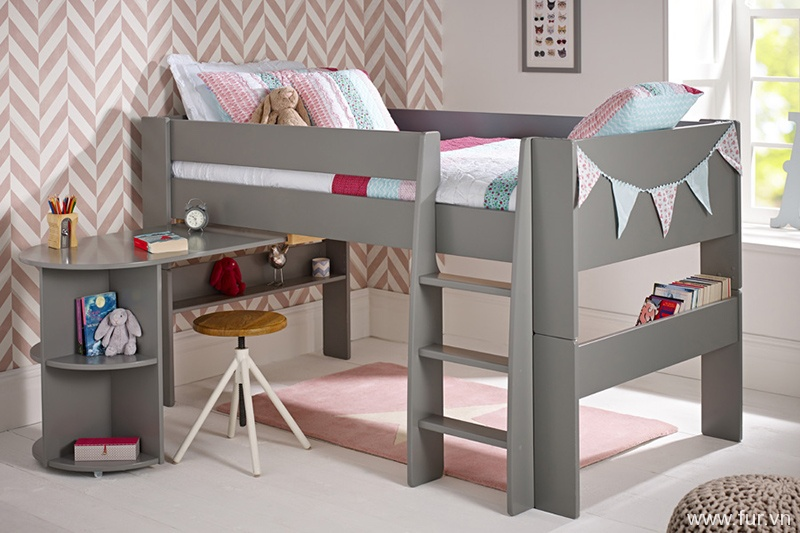 Solitaire Cool Grey Mid sleeper with Pull Out Desk