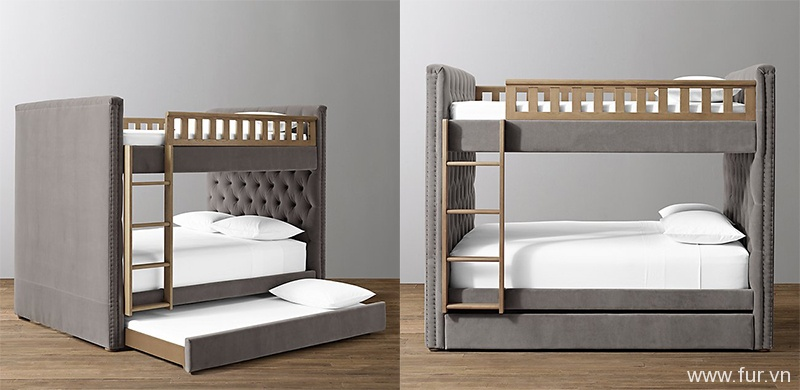 Chesterfield Tufted Velvet Bunk Bed With Trundle