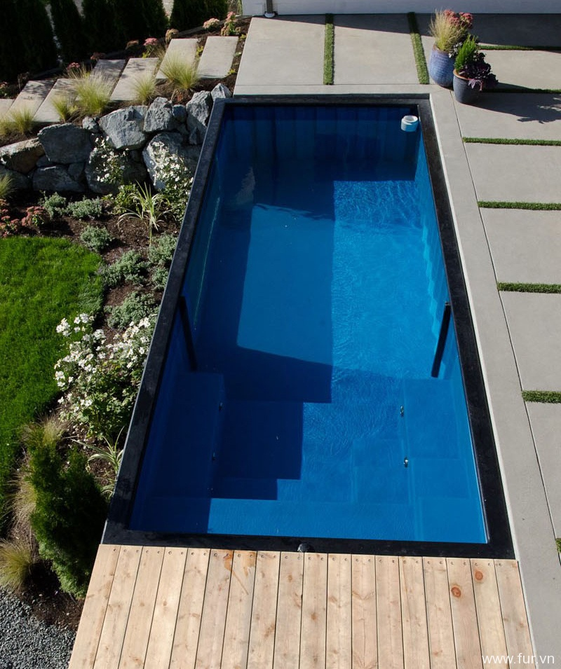 Shipping Container Swimming Pool steps