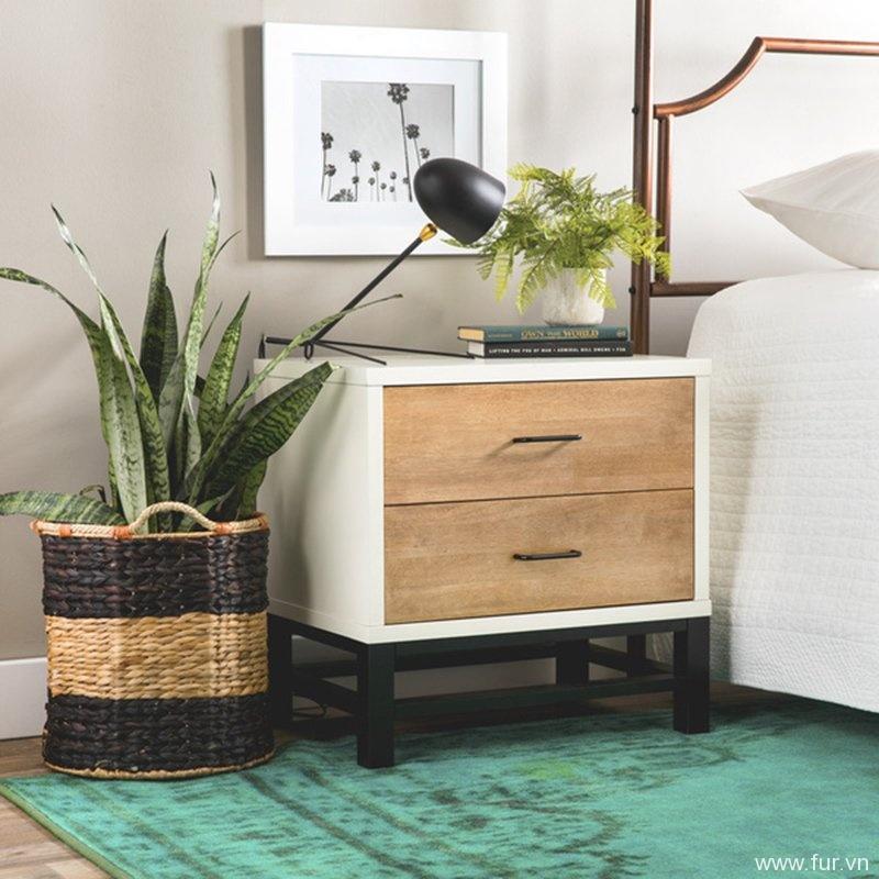 Henna Tri-tone 2-drawer Nightstand