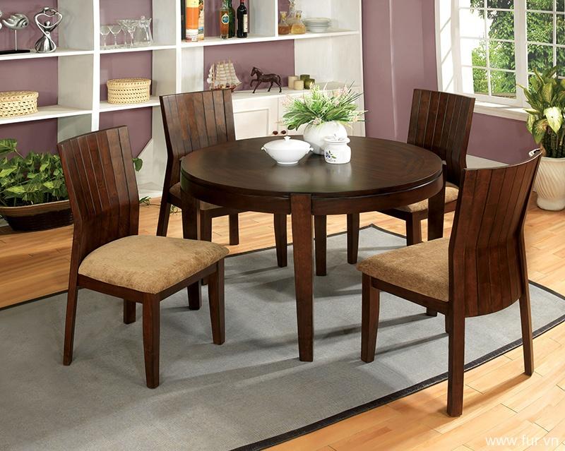 Furniture of America La Vallee 5-Piece Round Walnut Dining Set