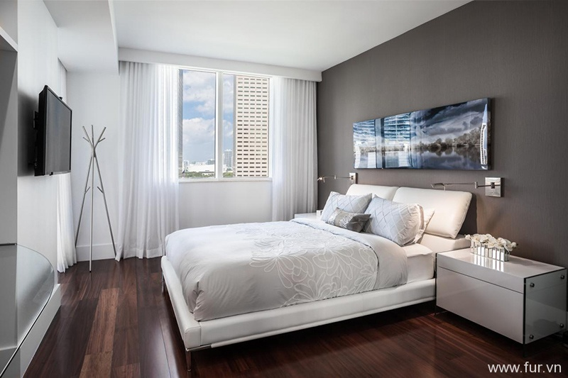 White Contemporary Bedroom With Gray Wall