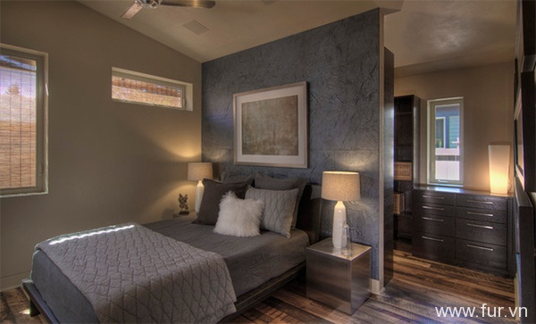 Bedroom with Reclaimed Flooring by Pioneer Millworks
