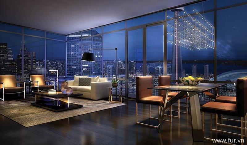 Panoramic Living Room Views, King Blue