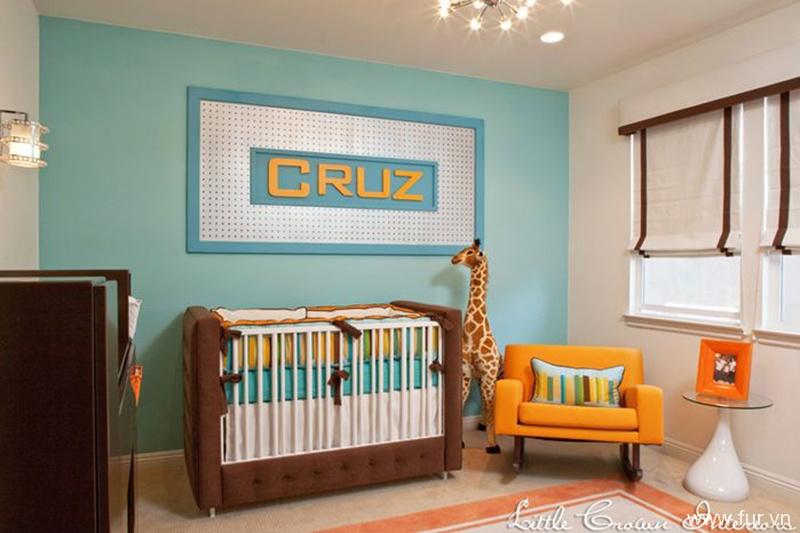 Aqua and Orange Modern Boys Nursery